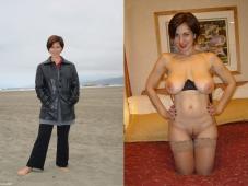 Cougar nue et lingerie