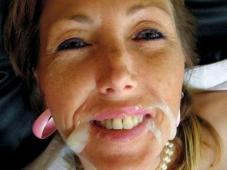 Éjaculation faciale - Cougar pleine de foutre